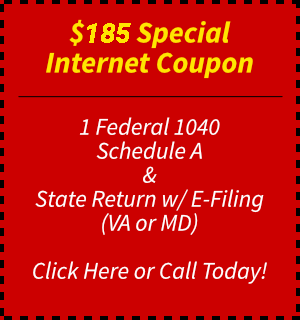 Maryland and Virginia tax preparation coupon